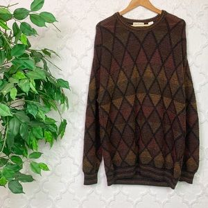 Vintage Brown Diamond Printed Geometric Sweater